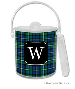 Black Watch Plaid Monogrammed Lucite Ice Bucket