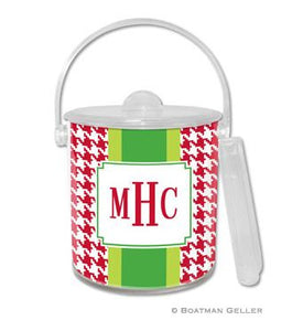 Alex Houndstooth Red Monogrammed Lucite Ice Bucket