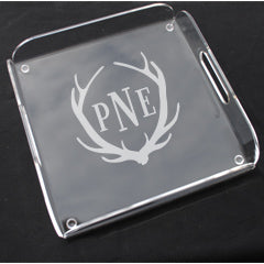 Monogrammed Acrylic Square Butler Tray