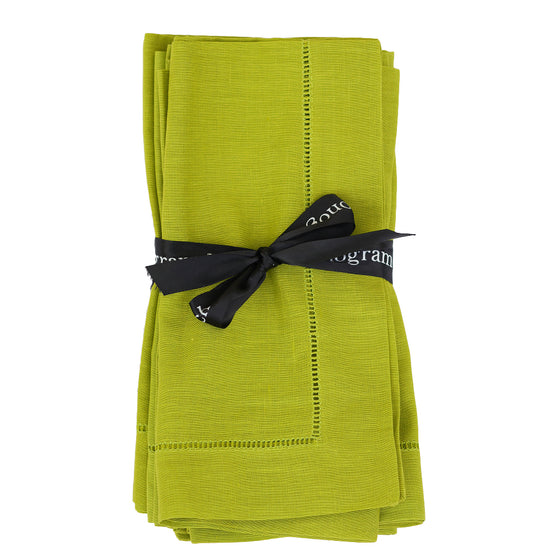 Hemstitched Lime Dinner Napkin S/6