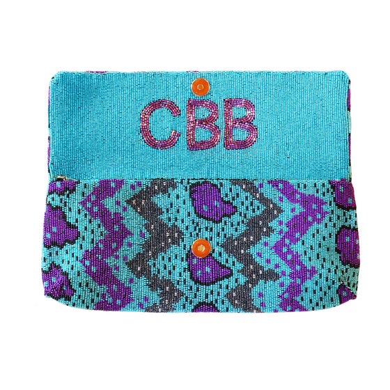 Beaded Clutch w/ Inside Monogram