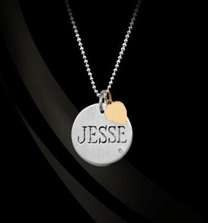 Sterling Silver Name Charm with Diamond and Chain