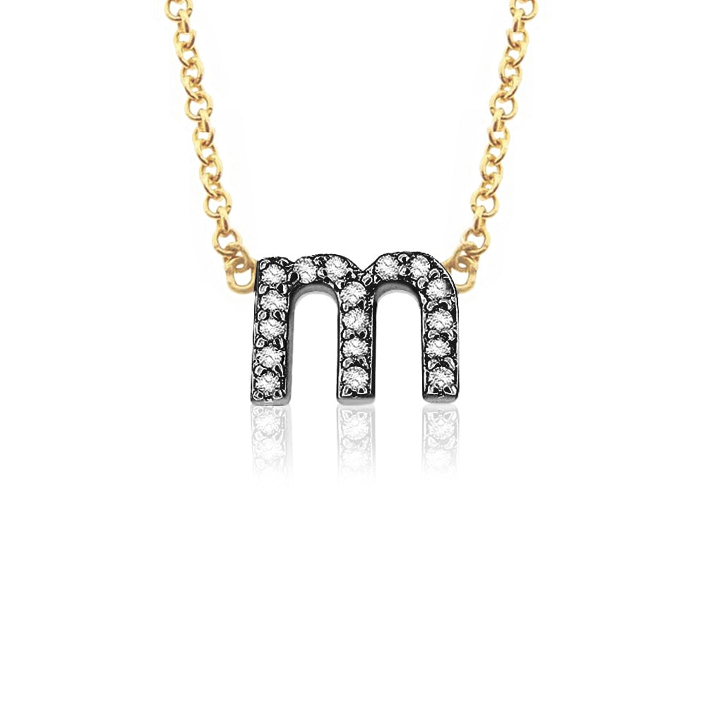Petite 14K Gold Diamond Lower Case Initial Necklace