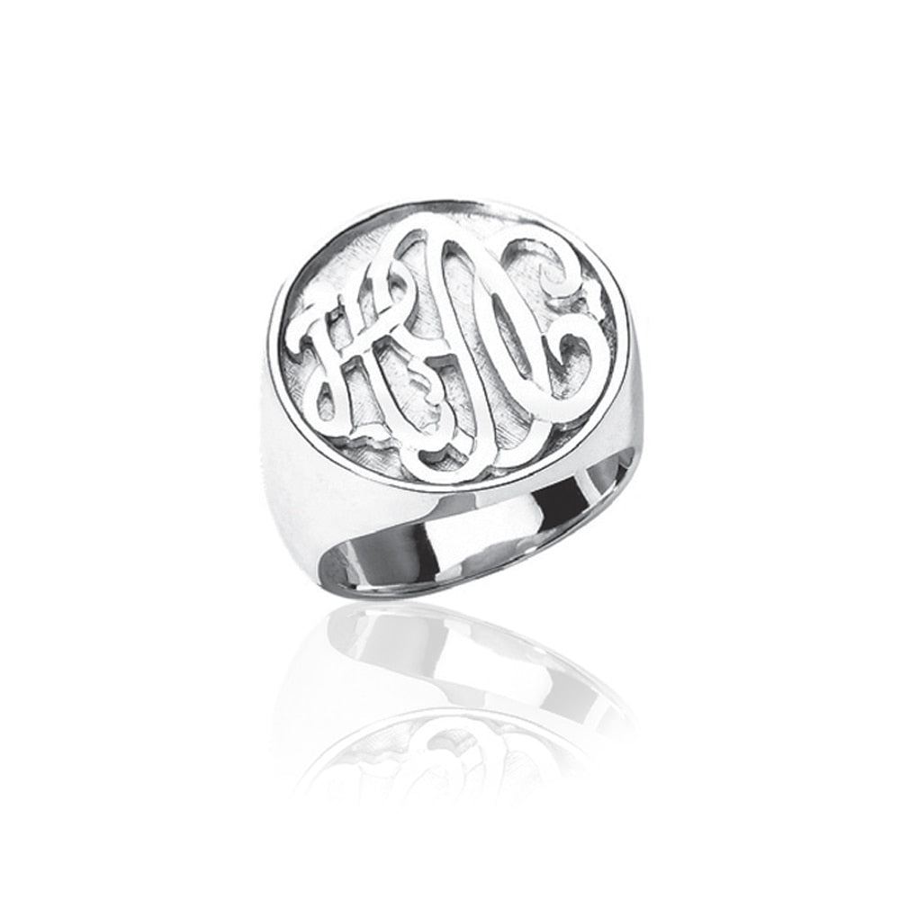 Carved Monogram Sterling Silver Boyfriend Ring