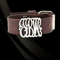Leather and Lace Monogram Bracelet
