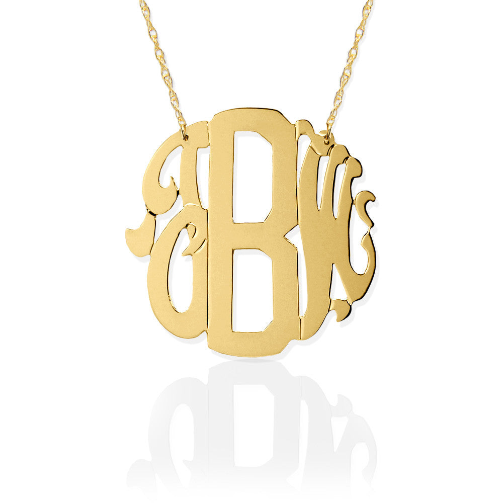 block script monogram necklace the monogram merchant