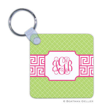 Greek Key Band Pink Key Chain