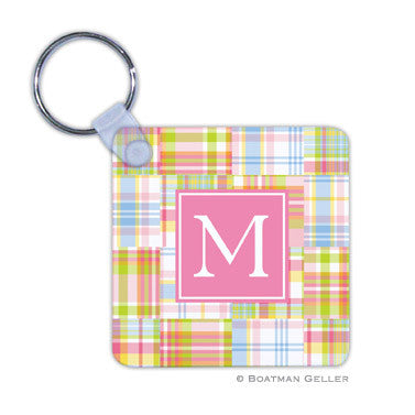 Madras Patch Pink Key Chain