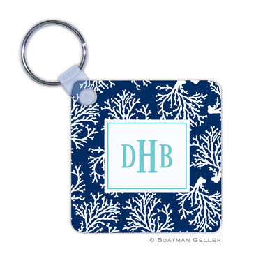Coral Repeat Navy Key Chain