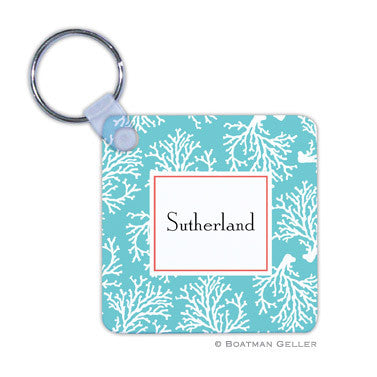 Coral Repeat Teal Key Chain