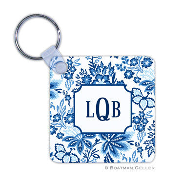Classic Floral Blue Key Chain