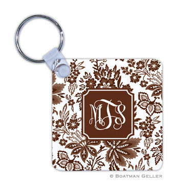 Classic Floral Brown Key Chain