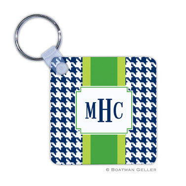 Alex Houndstooth Navy Key Chain