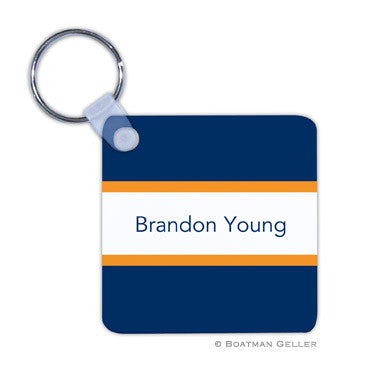 Stripe Navy & Tangerine Key Chain