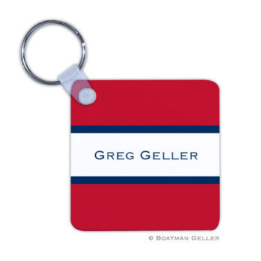 Stripe Red & Navy Key Chain