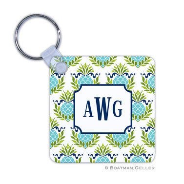 Pineapple Repeat Teal Key Chain