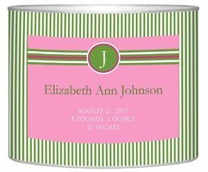 Baby Bin Pink & Green Striped Letter Box