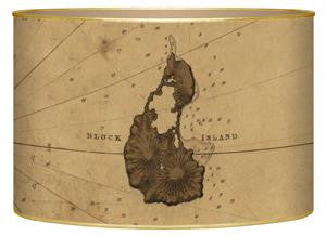 Antique Block Island Map Letter Box