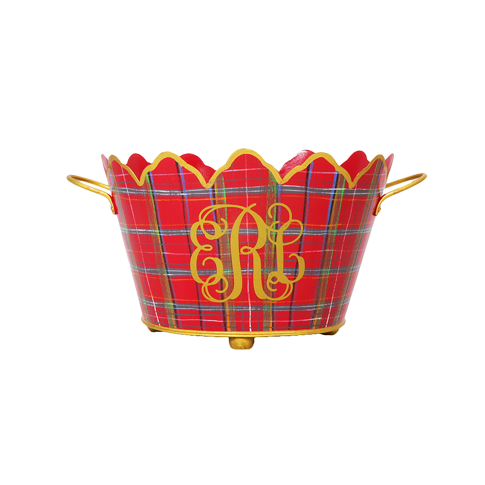 Red Plaid Oval Cachepot