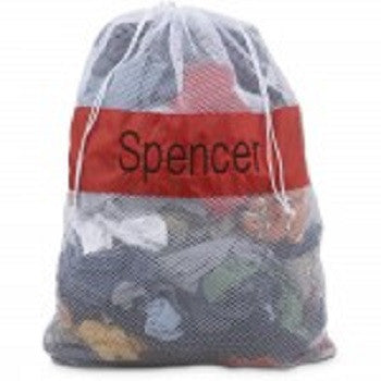 Personalized Redl/White Large Mesh Laundry Bag