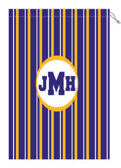 Monogrammed Purple & Gold Striped Laundry Bag