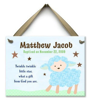 Personalized Twinkle Lamb Baptism Wall Tile