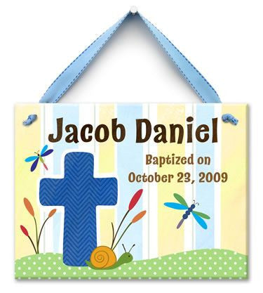 Personalized Living Cross Baptism Wall Tile