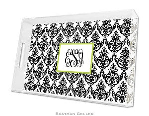 Madison Damask White with Black Lucite Tray