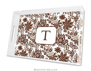 Classic Floral Brown Lucite Tray