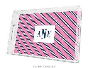 Repp Tie Pink & Navy Lucite Tray