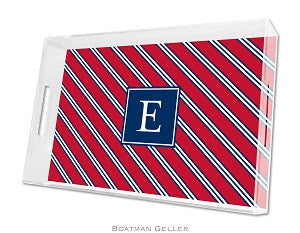 Repp Tie Red & Navy Lucite Tray