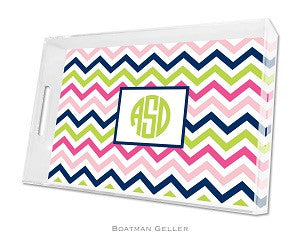 Chevron Pink, Navy, & Lime Lucite Tray