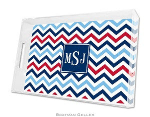 Chevron Blue & Red Lucite Tray