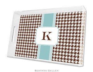 Alex Houndstooth Chocolate Lucite Tray