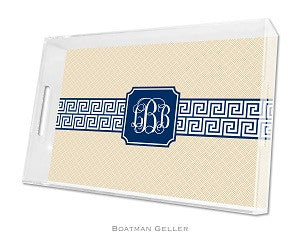 Greek Key Band Navy Lucite Tray