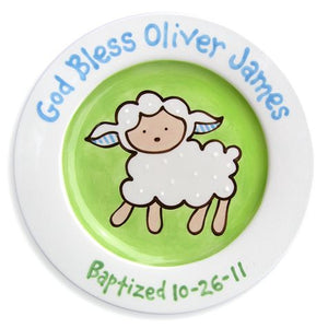 Personalized Lovable Lamb Baptism Plate (Boy)
