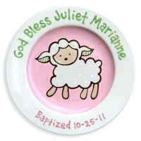Personalized Lovable Lamb Baptism Plate (Girl)