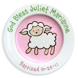 Personalized Girl Lamb Baptism Plate