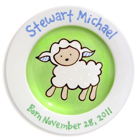 Personalized Lovable Lamb Plate (Boy)