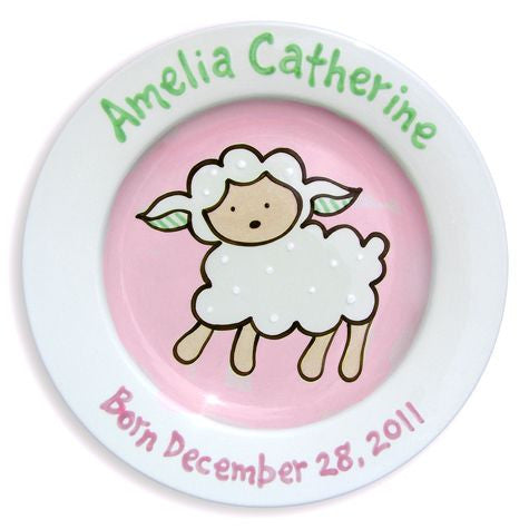 Personalized Lovable Lamb Plate (Girl)