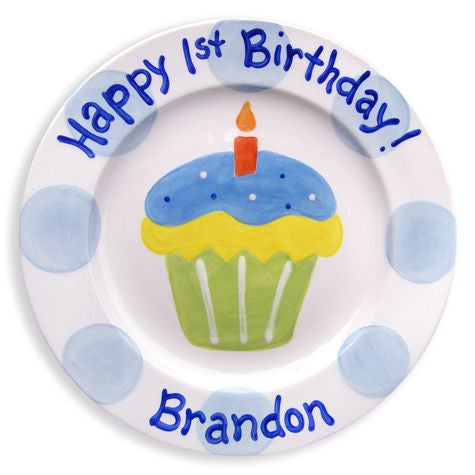 Personalized Yummy Cupcake Plate (Boy)