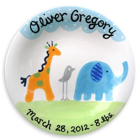 Personalized Safari Friends Plate (Boy)