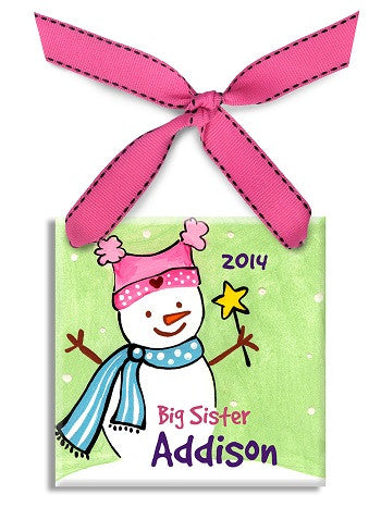 Personalized Big Sister Snowman Ornament