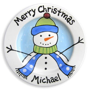 Personalized Boy Snowman Plate