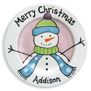 Personalized Girl Snowman Plate