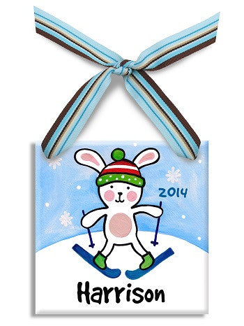 Personalized Snow Bunny Boy Ornament