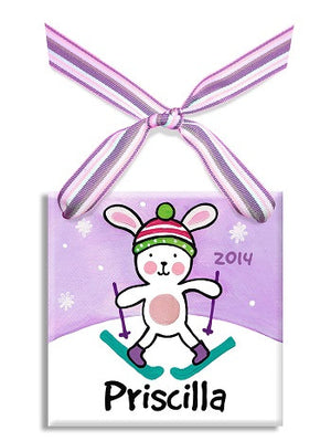 Personalized Snow Bunny Girl Ornament