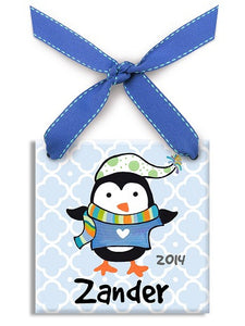 Personalized Polar Penguin Boy  Ornament