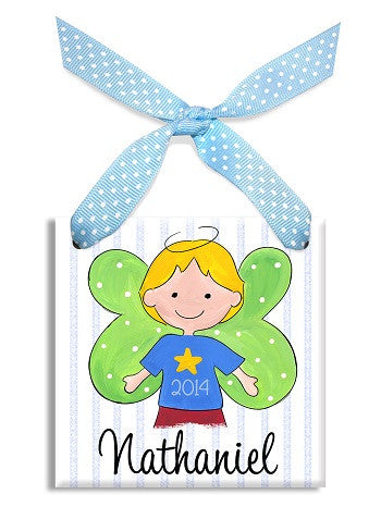 Personalized Our Little Angel Boy Blonde Ornament