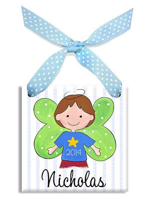 Personalized Our Little Angel Boy Brown Ornament